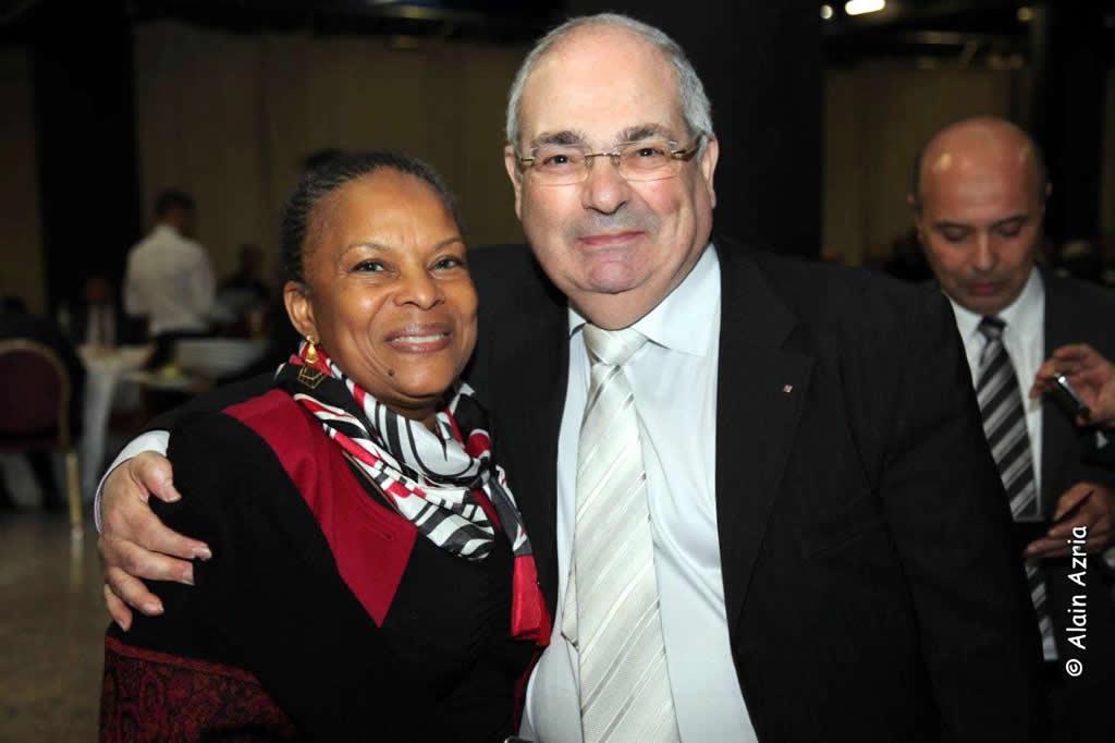 Richard Abitbol with French Justice Minister Christiane Taubira (Alain Azaria)