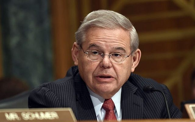 Senate Banking Committee member Sen. Robert Menendez, D-N.J. gives his opening statement on Capitol Hill in Washington, Tuesday, Jan. 27, 2015, during the committee's hearing on Iran sanctions. (AP/Susan Walsh)