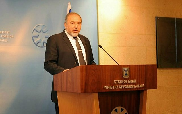 Foreign Minister Avigdor Liberman addressing Israeli diplomats in Jerusalem, January 14, 2015 (photo credit: Elram Mandel)