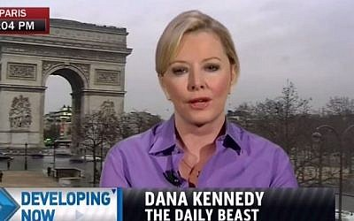 Daily Beat reporter Dana Kennedy covering the aftermath of the Paris terror attacks, Paris, 2015. (screen capture: YouTube/Truth Revolt)