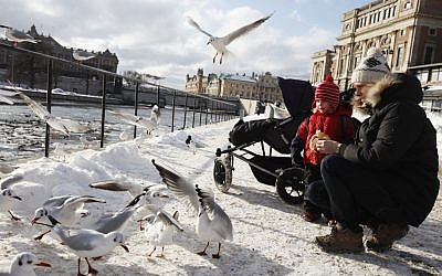 A woman and her son feed birds in Stockholm, Sweden on February 15, 2011. (Photo credit: Miriam Alster/Flash90)