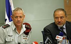 Former IDF Chief of Staff Benny Gantz (left) with Foreign Minister Avigdor Liberman, at a 2013 Knesset committee meeting (FLASH90)