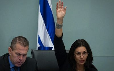Likud MK Miri Regev, right, in the Knesset. (Flash90)