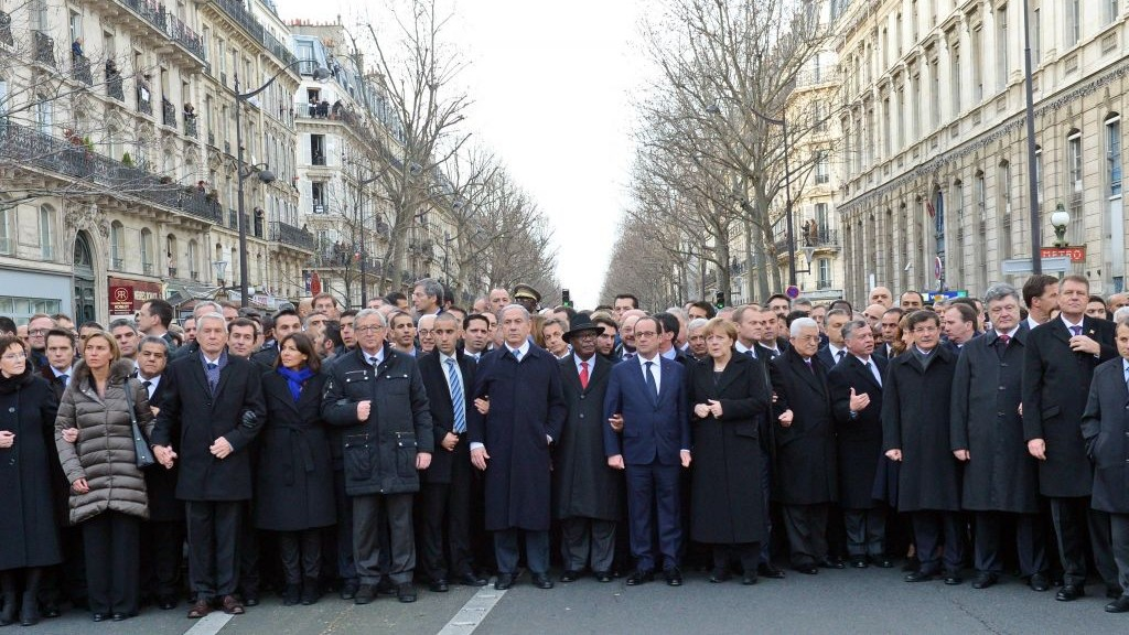 (Click to enlarge) Original photo released by the Government Press office, showing French president Francois Hollande flanked by world leaders during a solidarity march on January 11, 2015, following a string of terror attacks in Paris on January 7 and 9.  (Photo credit: Haim Zach / GPO)