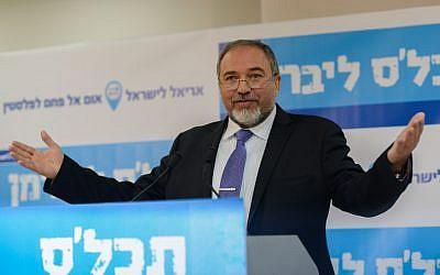 Yisrael Beytenu party leader Avigdor Liberman speaks at a press conference in Tel Aviv on January 15, 2014. (photo credit: Ben Kelmer/Flash90)