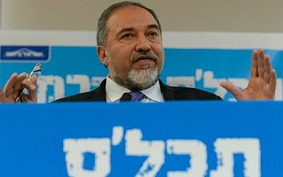 Yisrael Beytenu party chief Avigdor Liberman at his campaign launch press conference in Tel Aviv, January 15, 2014. (photo credit: Ben Kelmer/Flash90)