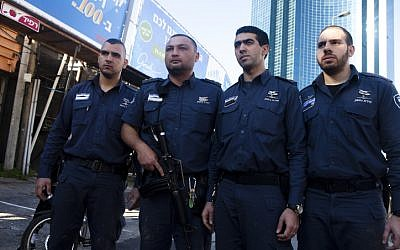 Officers from the Israeli Prison Services who shot and captured the terrorist in Tel Aviv. They and others are being hailed as heroes in the Israeli press (photo credit; mir Levy/Flash90)