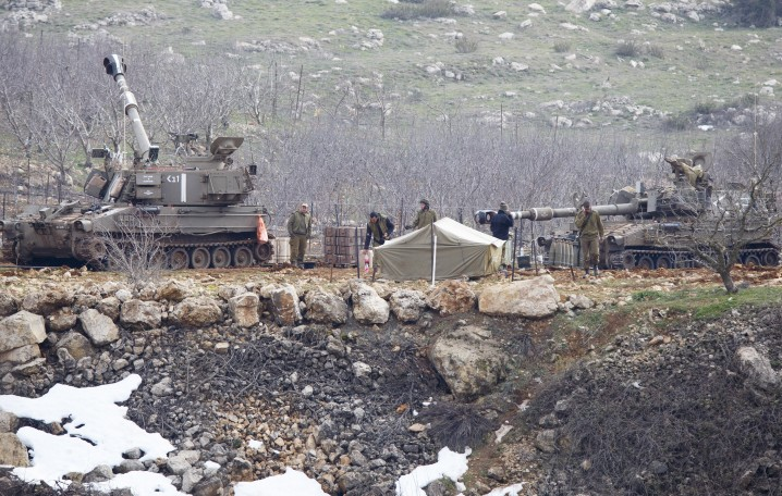 The IDF was on high alert in the Golan Heights Tuesday,  January 27, 2015 after responding with artillery fire to two rocket attacks launched from Syrian territory. (Photo credit: Basal Awidat/Flash90)