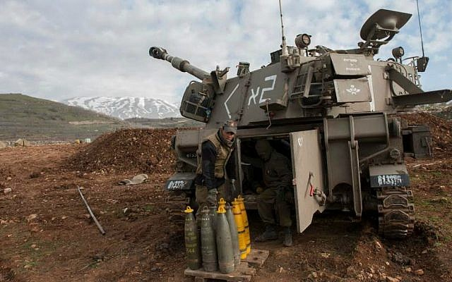 Illustrative. IDF artillery seen preparing to return fire into southern Lebanon following a Hezbollah strike on an IDF patrol that killed two soldiers in the northern Mount Dov region along the Israel-Lebanon border, January 28, 2015. (Israel Defense Forces)