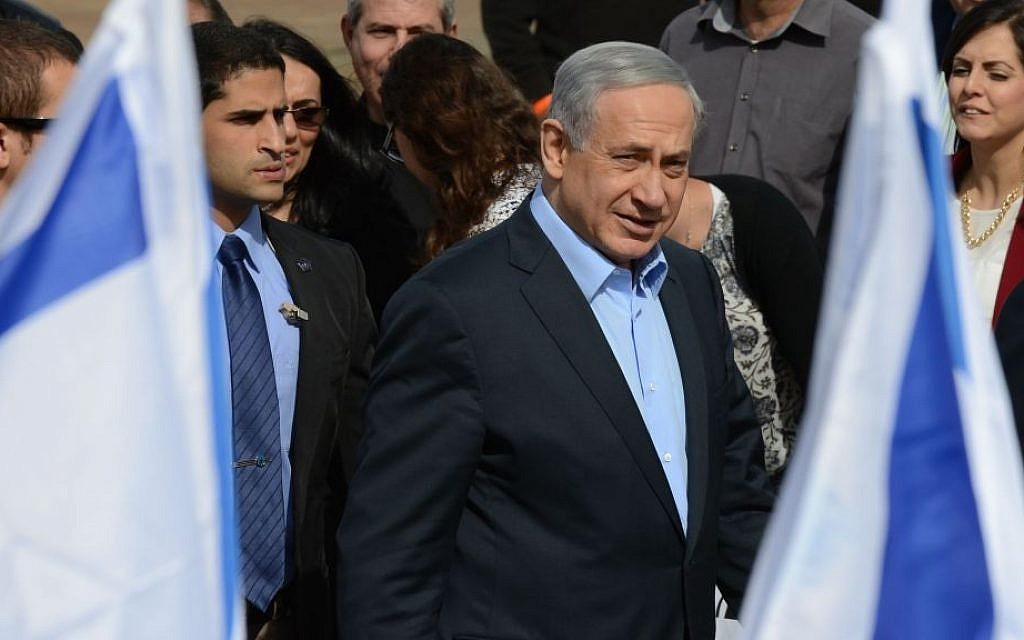 Prime Minister Benjamin Netanyahu seen at a cornerstone laying ceremony for a new neighborhood in the southern Israeli town of Sderot. January 28, 2015. (Photo credit: Kobi Gideon / GPO)