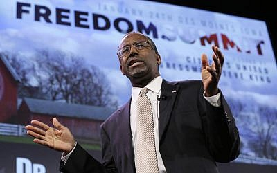Ben Carson speaks during the Freedom Summit in Des Moines, Iowa, on January 24, 2015. (AP/Charlie Neibergall)