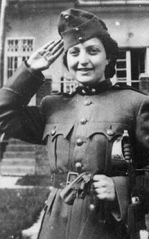 Hannah Senesh, wearing a Hungarian army uniform as a Purim costume (photo credit: Wikipedia)