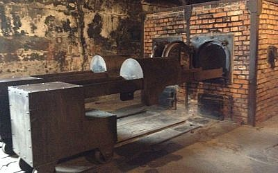 The preserved crematorium at the museum at Auschwitz 1 during a tour of Israeli Holocaust survivors on January 28, 2015. (Amanda Borschel-Dan/The Times of Israel)