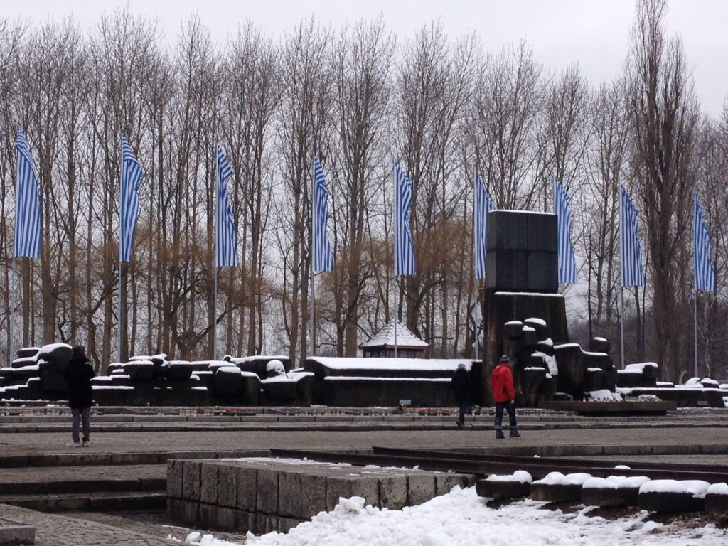 Blue and white striped banners wave in the winter winds at the Auschwitz-Birkenau memorial, January 28, 2015. (Amanda Borschel-Dan/The Times of Israel)