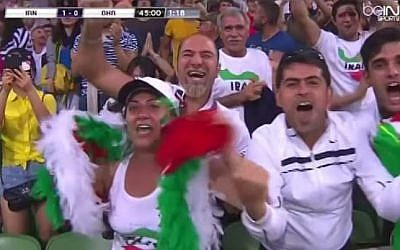 Iranian fans celebrate as their team scores a goal during the Asian Cup, Sydney, Australia, 2015. (photo credit: YouTube/AFC Asian Cup 2015)