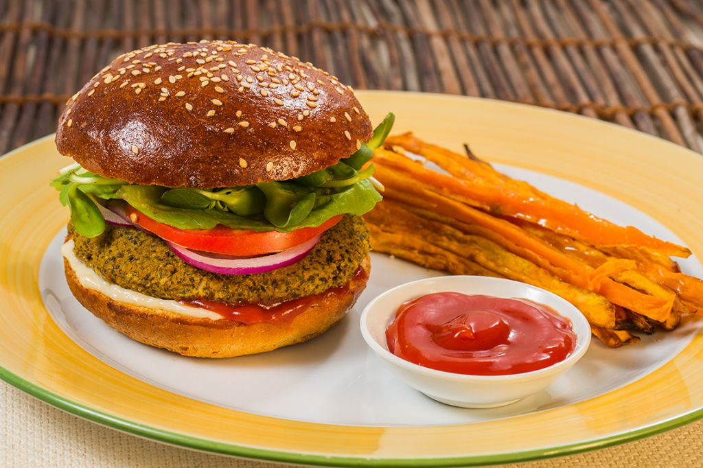 Nobody turns down a burger, say vegan chefs, even when it's made of lentils, like this one from Jerusalem's Nagila vegan restaurant (Courtesy Nagila)