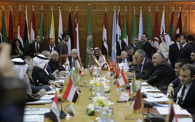 Palestinian Authority President Mahmoud Abbas (center-left), meets with Arab foreign ministers at the Arab League headquarters in Cairo, Egypt, on January 15, 2015. (AP/Amr Nabil)