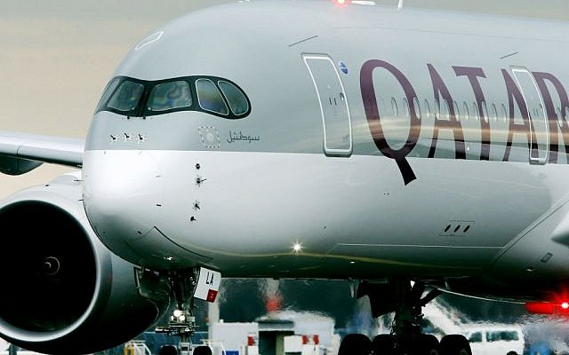 In this Jan. 15, 2015 file photo, the new Airbus A350 of Qatar Airways coming from Doha, Qatar, approaches the gate at the airport in Frankfurt, Germany. (AP/Michael Probst-file)