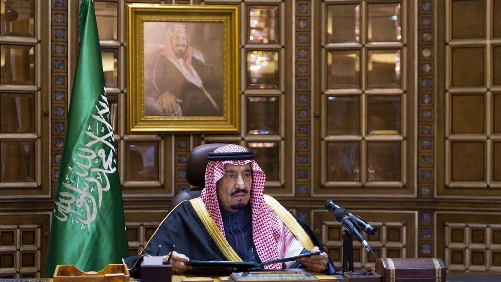 King Salman bin Abdul-Aziz Al Saud makes his first speech as king following the death of King Abdullah, Friday, Jan. 23, 2015 in Riyadh, Saudi Arabia. (photo credit: AP Photo/Saudi Press Agency)