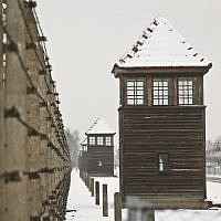 Barbed wire fences and guard towers surround the access road into the Birkenau Nazi death camp in Oswiecim, Poland, Monday, Jan. 26, 2015 (AP Photo/Czarek Sokolowski)