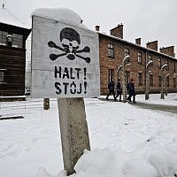 Visitors at the Auschwitz Nazi death camp in Oswiecim, Poland, January 26, 2015 (AP/Alik Keplicz)