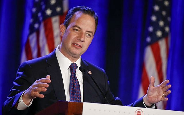 This photo taken Jan. 15, 2015 shows Republican National Committee Chairman Reince Priebus speaking at the Republican National Committee meetings in San Diego. (AP/Lenny Ignelzi)