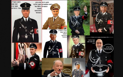Israeli politicians depicted as Nazis surfaced on social media outlets January 7, 2015. (Photo credit: screenshot)