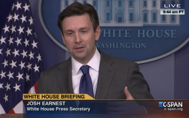 Josh Earnest at the White House press briefing, January 23, 2015 (C-Span screenshot)