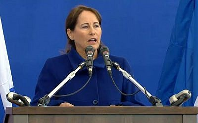 French Minister of Energy and Environment Segolene Royal speaks at the funeral of the Paris terror victims, in Jerusalem on Tuesday, January 13, 2015 (photo credit: screen capture)