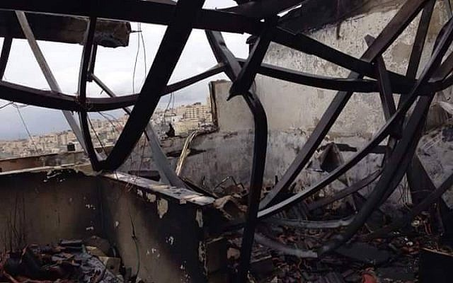 A burnt out home in Shuafat Refugee Camp following a fire, January 9, 2015 (photo credit: courtesy/Peace Emergency Team)