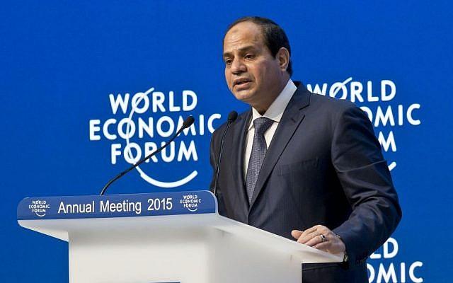 "Egyptian President Abdel-Fattah el-Sissi speaks during the panel ""Egypt in the World"" at the World Economic Forum in Davos, Switzerland, Thursday, Jan. 22, 2015. The meeting runs from Jan. 21 through Jan. 24. (photo credit: AP/Michel Euler)"