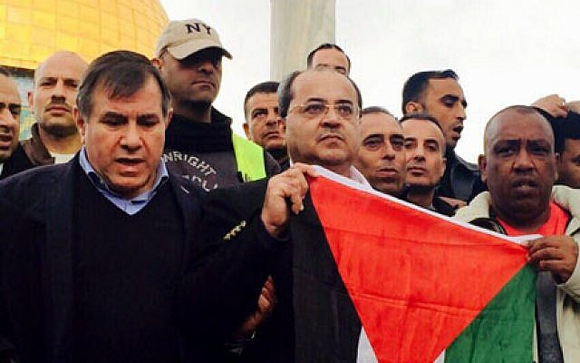 Ahmad Tibi holds a Palestinian flag atop the Temple Mount, January 3, 2015 (photo credit: Channel 2 / Tamar Abidat)