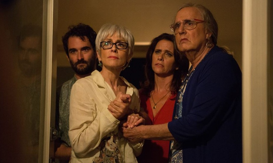 Josh, Shelly, Sarah and Maura (formerly Mort) mourn the death of Shelly's second husband in 'Transparent.' (Courtesy Amazon Studios)