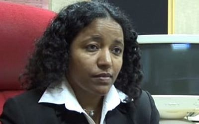 Tsega Melaku, an Ethiopian-born activist and journalist, and a candidate for Moshe Kahlon's Kulanu party. (screen capture: YouTube)