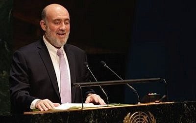 Israel's Ambassador Ron Prosor addresses the United Nations General Assembly, Thursday, Jan. 22, 2015. The U.N. General Assembly held its first-ever meeting devoted to anti-Semitism in response to a global increase in violence against Jews. (Photo credit: AP/Richard Drew)