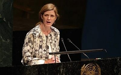 US Ambassador Samantha Power addresses the United Nations General Assembly, Thursday, Jan. 22, 2015. The U.N. General Assembly held its first-ever meeting devoted to anti-Semitism in response to a global increase in violence against Jews. (photo credit: AP/Richard Drew)