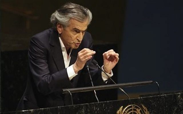 French Jewish philosopher Bernard-Henri Levy addresses a special session of the United Nations General Assembly on anti-Semitism, Thursday, January 22, 2015 (photo credit: AP/Richard Drew)