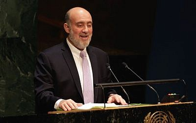 Israel's Ambassador Ron Prosor addresses the United Nations General Assembly, January 22, 2015. (photo credit: AP/Richard Drew)