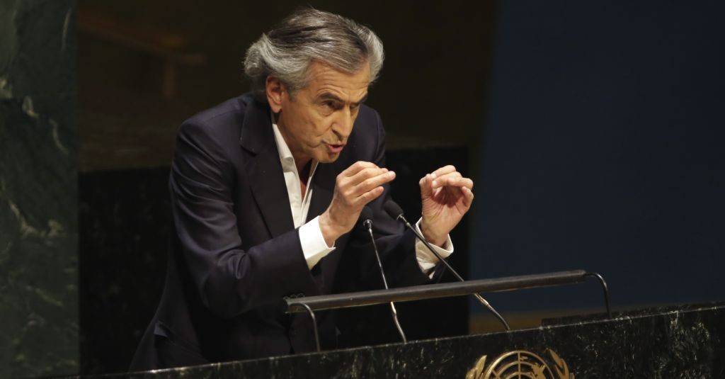 French Jewish philosopher Bernard-Henri Levy addresses a special session of the United Nations General Assembly on anti-Semitism, January 22, 2015 (photo credit: AP/Richard Drew)