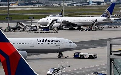 Planes are parked at Frankfurt Airport in Germany, illustrative (Photo credit: Youtube screen capture)