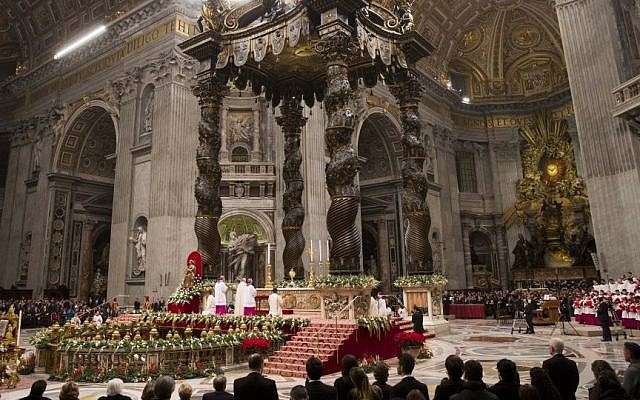 Pope Francis celebrates a new year's eve vespers Mass in St. Peter's Basilica at the Vatican, Wednesday, Dec. 31, 2014. (Photo credit:AP/Andrew Medichini)
