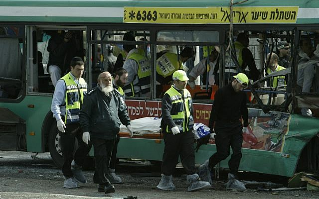 Illustrative photo of a suicide bombing in Jerusalem. February 22, 2004. (photo credit: Flash90)