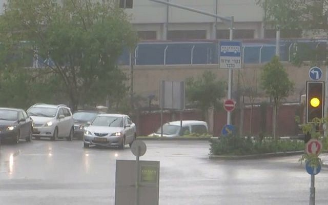 Rain in Haifa on Tuesday, January 6, 2014 (Photo credit: Youtube screen capture)