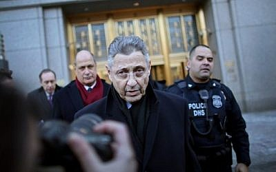 New York State Assembly Speaker Sheldon Silver outside federal courthouse after his arraignment on bribery and corruption charges, Jan. 22, 2015 (Photo credit: Yana Paskova/Getty Images/JTA)