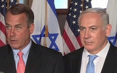 Speaker of the US House of Representatives John Boehner (L) and Israeli Prime Minister Benjamin Netanyahu (R) in 2011 (Photo credit: YouTube screen capture)