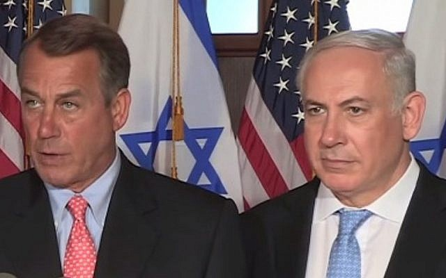 Speaker of the US House of Representatives John Boehner (left) and Prime Minister Benjamin Netanyahu (right) in 2011 (photo credit: YouTube screen capture)