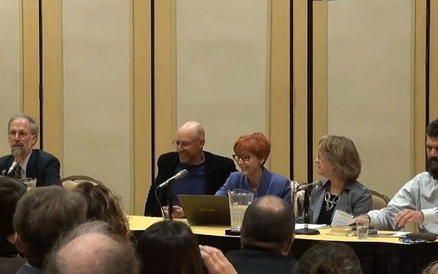 A panel at the 2013 annual meeting of the American Historical Association (photo credit: YouTube screenshot)