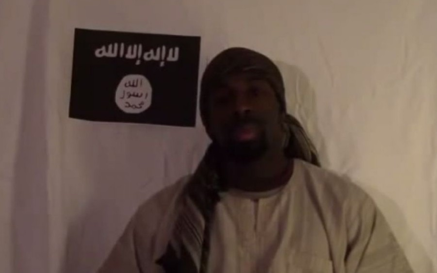 Amedy Coulibaly who was shot dead by French police on January 9, 2015, is seen in a video clip pledging allegiance to the Islamic State. (YouTube screenshot)