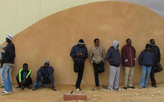 Detainees at the entrance to Holot. (photo credit: Nehama Shimnovic)