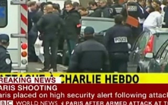 Image of the BBC's coverage of the Paris terror attacks on January 7, 2015. (Photo credit: YouTube screenshot)